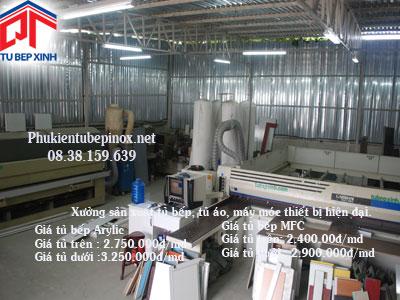 Xưởng sản xuất tủ bếp, máy móc thiết bị hiện đại
