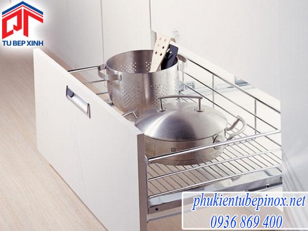 Phụ kiện tủ bếp wellmax - rổ xoong úp nồi dạng bản (ray hãm)