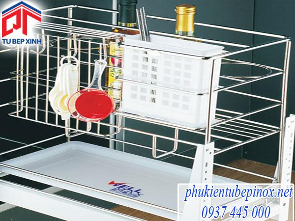 Kệ 3 ngăn inox dụng cụ(dao, thớt, chai, đĩa,..) Wellmax