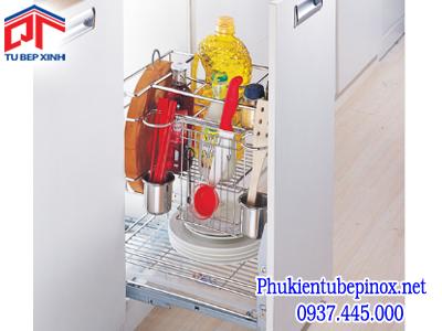 Phụ kiện tủ bếp dưới - Kệ gia vị 3 tầng inox cho hộc tủ 400