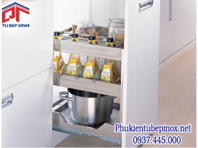 Phụ kiện tủ bếp dưới - Kệ gia vị dạng bản cho tủ 400