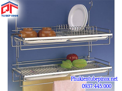 Phụ kiện tủ bếp inox - Kệ treo úp chén dĩa 2 tầng