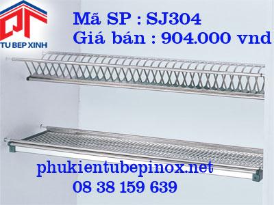 Phụ kiện tủ bếp trên - Kệ úp chén 2 tầng co khay hứng nước cho tủ 600