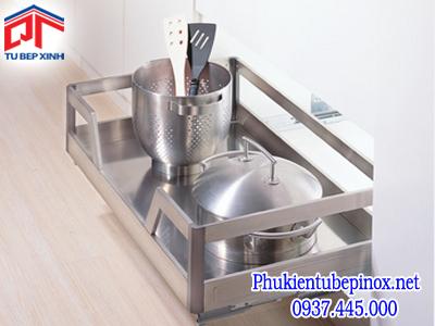 Phụ kiện tủ bếp dưới - Rổ xoong úp nồi dạng bản 700 inox (ray hãm)
