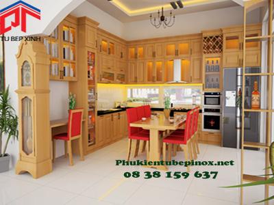 Tủ bếp gỗ Sồi nhà anh Phú - Bảo Lộc