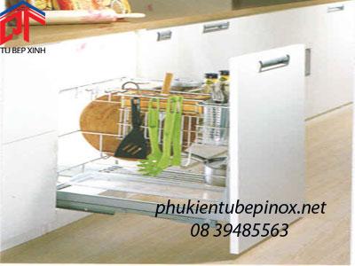 Phụ kiện tủ bếp inox - Kệ gia gia vị inox cho hộc tủ 300
