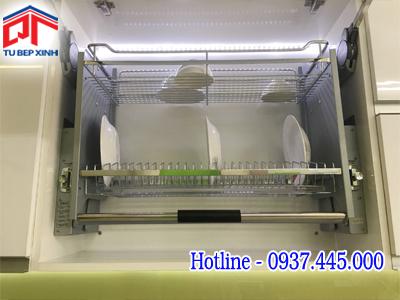 Kệ kéo chén dĩa 2 tầng di động  âm tủ trên