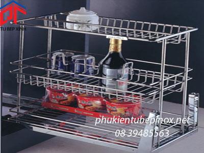 Phụ kiện tủ bếp Wellmax  -  Kệ 3 ngăn 1 hàng chai inox + ray hãm