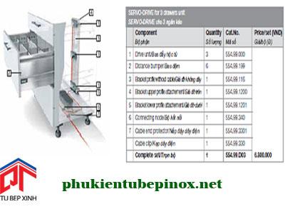 Phụ kiện tủ bếp Blum - Bộ hộc kéo cảm ứng 3 ngăn