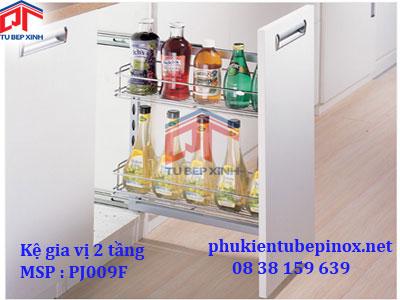 Phụ kiện tủ bếp dưới-  Kệ chai 2 tầng cho hộc tủ 200