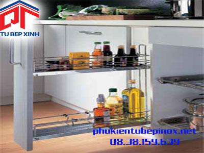 Phụ kiện tủ bếp Hafele - Bộ rổ kéo 2 tầng chai cho hộc tủ 200