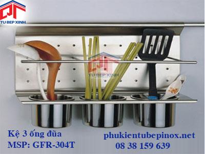 Phụ kiện tủ bếp inox - Kệ treo 3 ống đũa inox