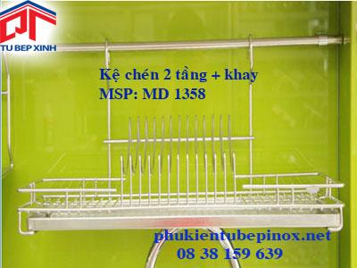 Kệ chén dĩa 1 tầng + khay hứng nước inox 304
