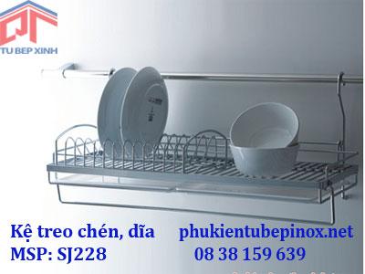 Phụ kiện tủ bếp inox - Kệ treo úp chén dĩa 1 tầng