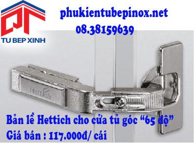 Phụ kiện tủ bếp Hettich - Bản lề Intermat 65 độ cho cửa tủ góc