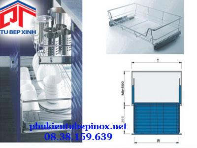 Rổ xoong úp nồi ray giảm chấn inox 304 cho tủ 600mm ( có khay)