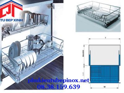 Rỗ xoong úp chén ray giảm chấn inox 304 cho tủ 600mm( có khay)
