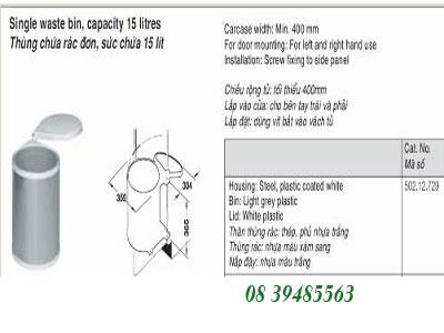 Phụ kiện tủ bếp Hafele - Thùng rác 15 lít trong tủ bếp