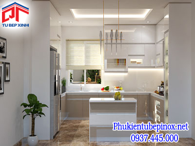 Tủ bếp acrylic nhà anh Tú - Quận 1