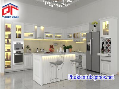 Tủ bếp gỗ sồi sơn trắng cho không gian nhẹ nhàng, tinh tế